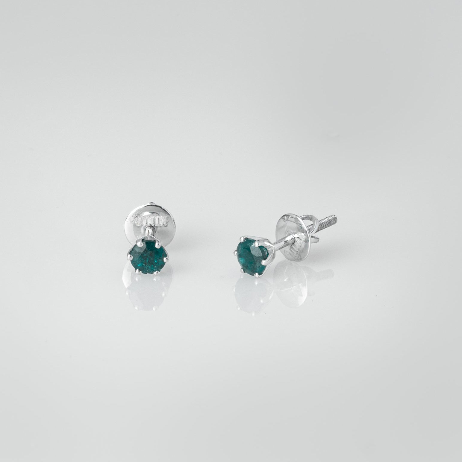 18ct White Gold 0.54ct Round Brilliant Cut Emerald Stud Earrings (MCS3121)