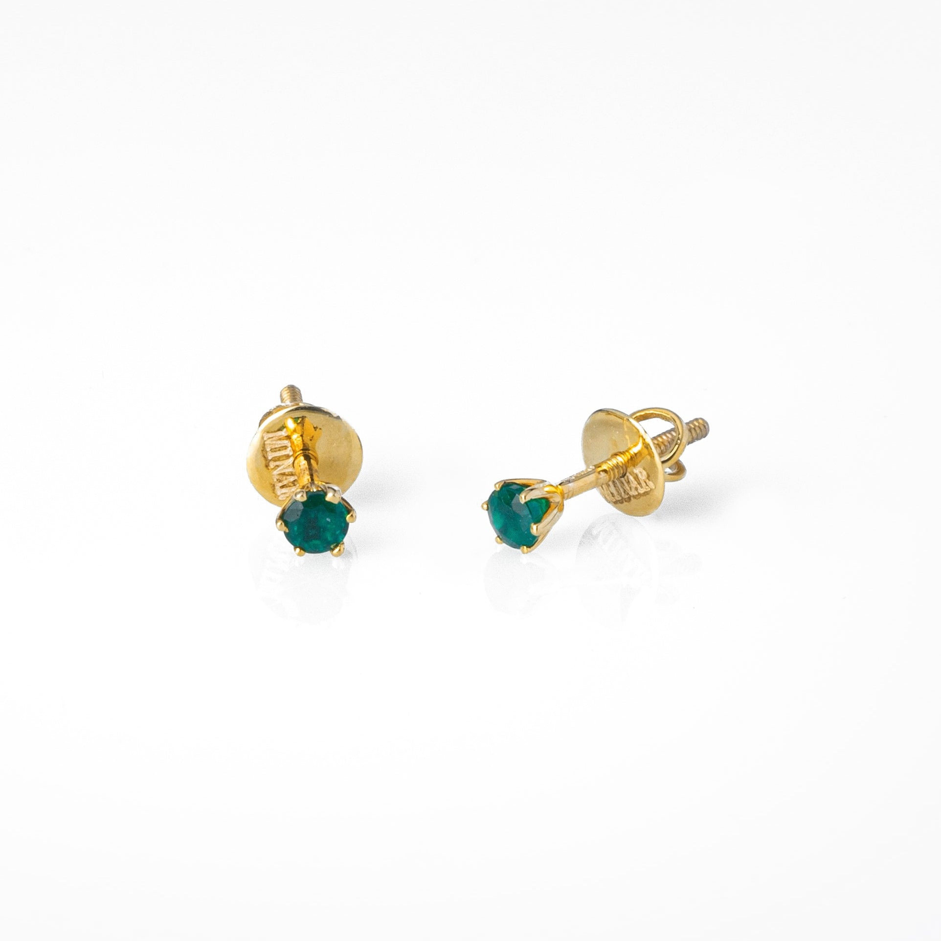 18ct Yellow Gold 0.23ct Round Brilliant Cut Emerald Stud Earrings (MCS3123)