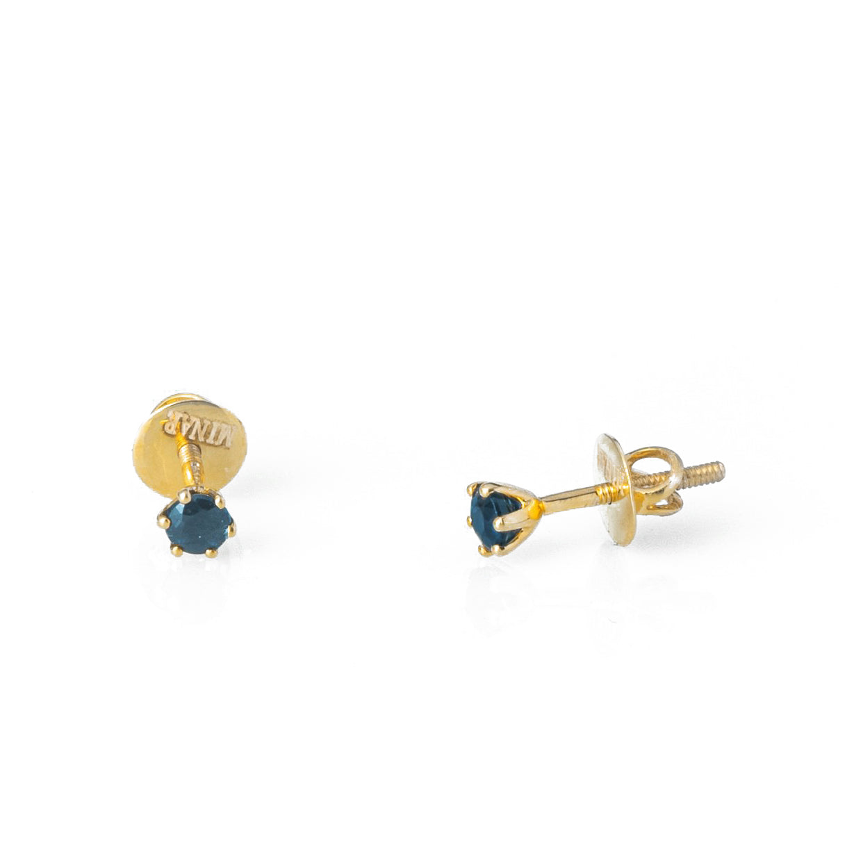 18ct Yellow Gold 0.39ct Round Brilliant Cut Sapphire Stud Earrings (MCS3127)