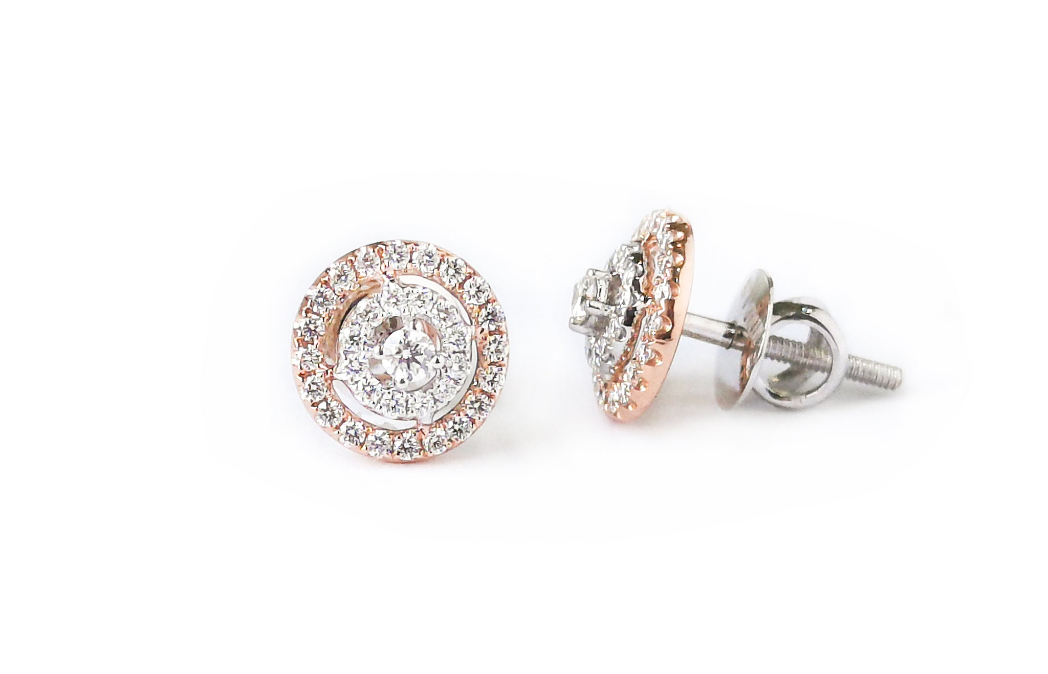 Diamond White and Rose Gold Stud Earrings MCS3618