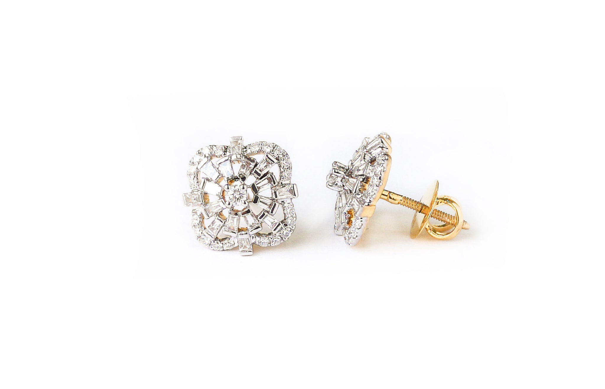 Diamond Yellow Gold Stud Earrings MCS3623