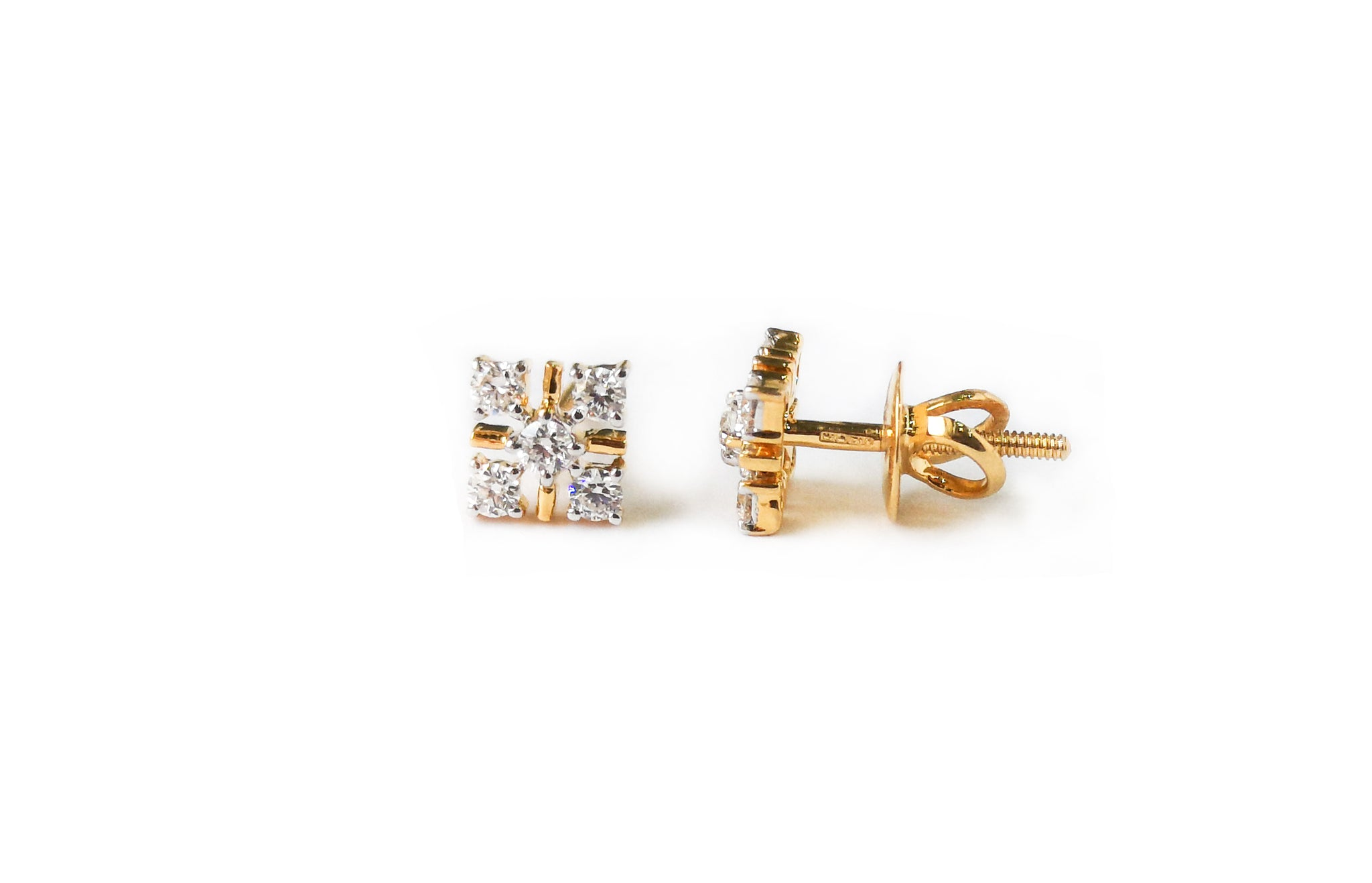 Diamond Yellow Gold Stud Earrings MCS3626