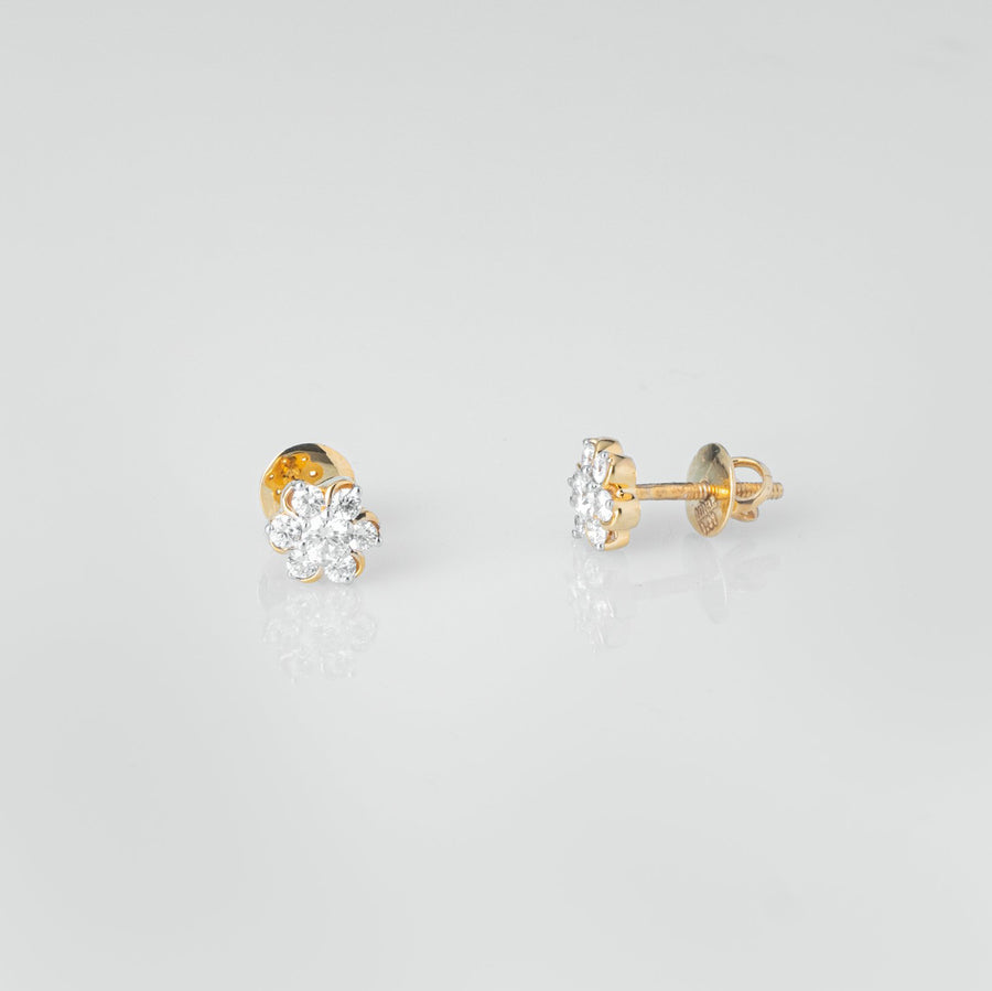 18ct Yellow Gold 0.37ct Cluster Cut Diamond Stud Earrings (MCS3683)