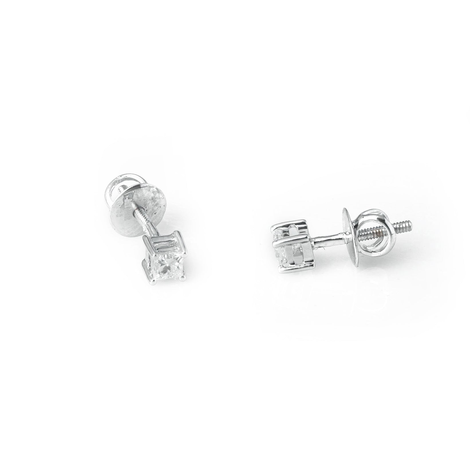 18ct White Gold 0.33ct Princess Cut Diamond Stud Earrings (MCS3686)
