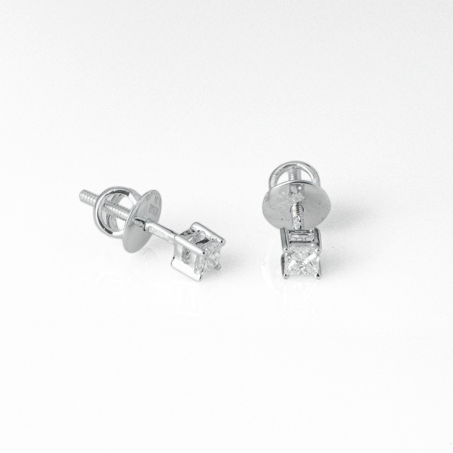 18ct White Gold 0.24ct Princess Cut Diamond Stud Earrings (MCS3687)