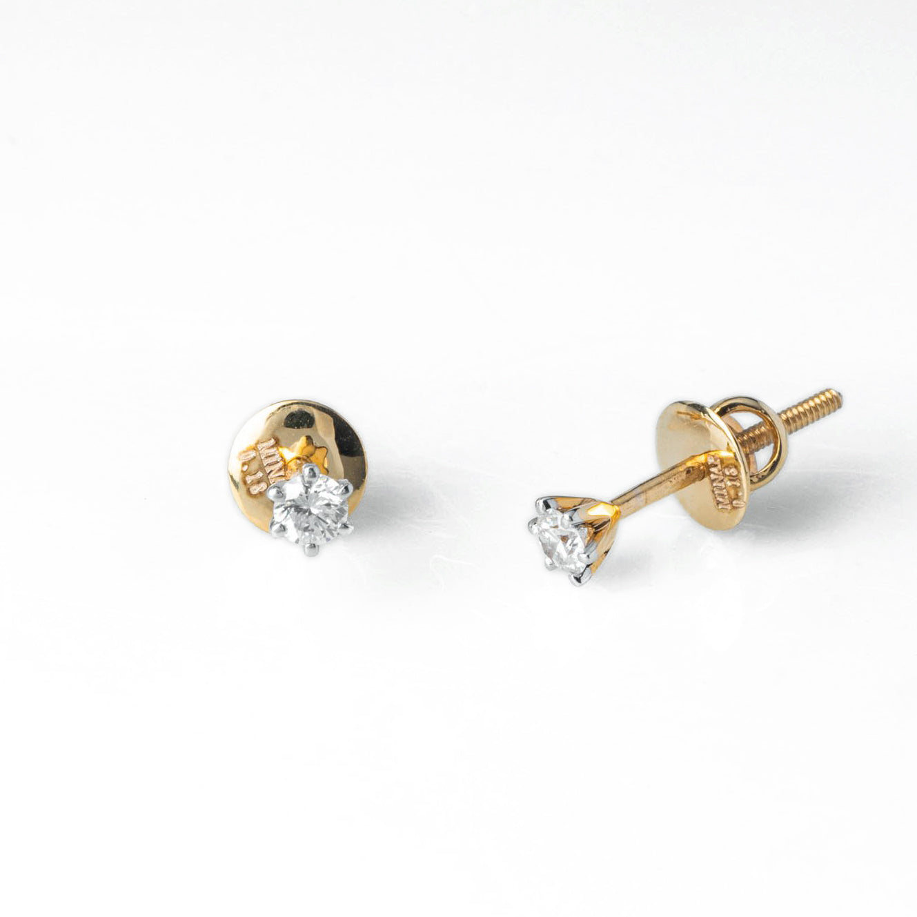 18ct Yellow Gold 0.18ct Round Brilliant Cut Diamond Stud Earrings (MCS3688)