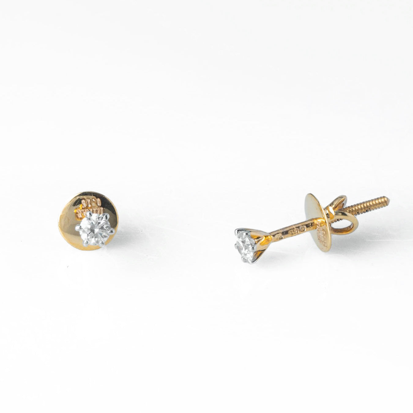 18ct Yellow Gold 0.10ct Round Brilliant Cut Diamond Stud Earrings (MCS3690)