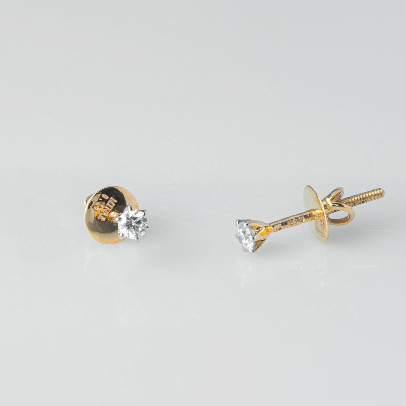 18ct Yellow Gold 0.15ct Round Brilliant Cut Diamond Stud Earrings (MCS3689)