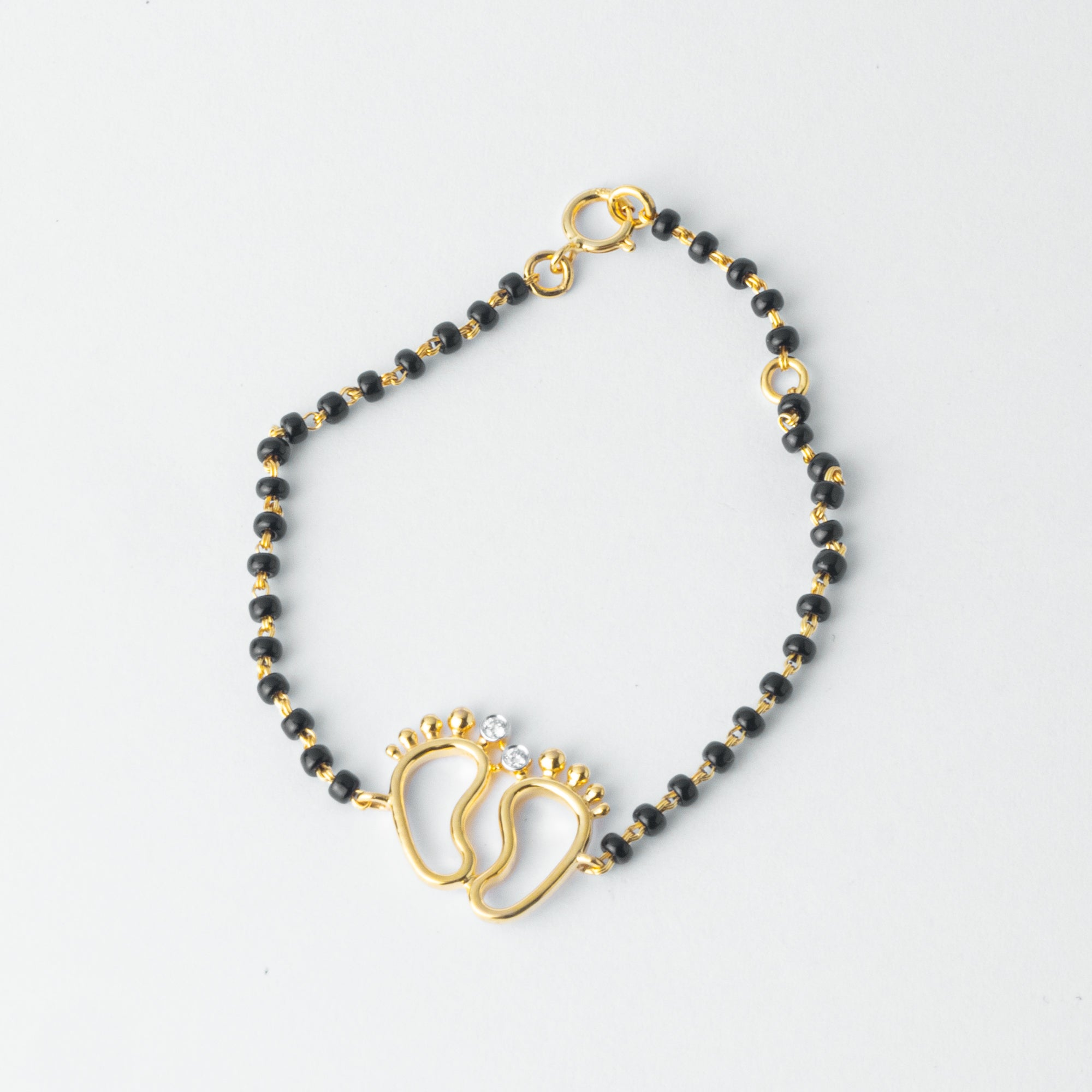 18ct Yellow or White Gold Diamond Children's Bracelet with Feet and Black Beads MCS4275