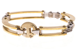 18ct Two Tone Gold Gents Bracelet (GBR-1090)