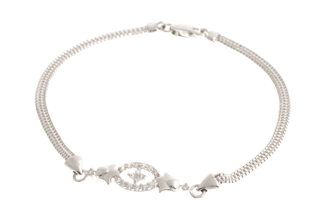 18ct White Gold Bracelet with Cubic Zirconia Stones, Minar Jewellers - 1
