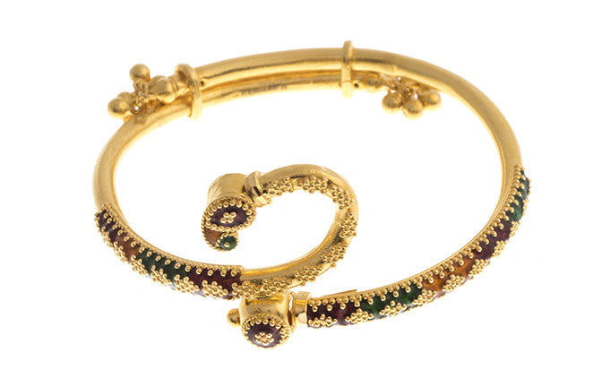Hand Finished 22ct Yellow Gold 'Minakari' Children's Bangle (G1771), Minar Jewellers - 2