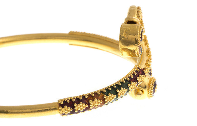 Hand Finished 22ct Yellow Gold 'Minakari' Children's Bangle (G1771), Minar Jewellers - 3