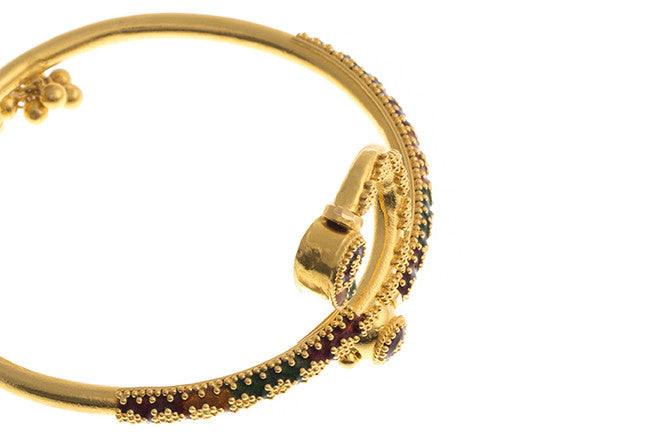 Hand Finished 22ct Yellow Gold 'Minakari' Children's Bangle (G1771), Minar Jewellers - 4