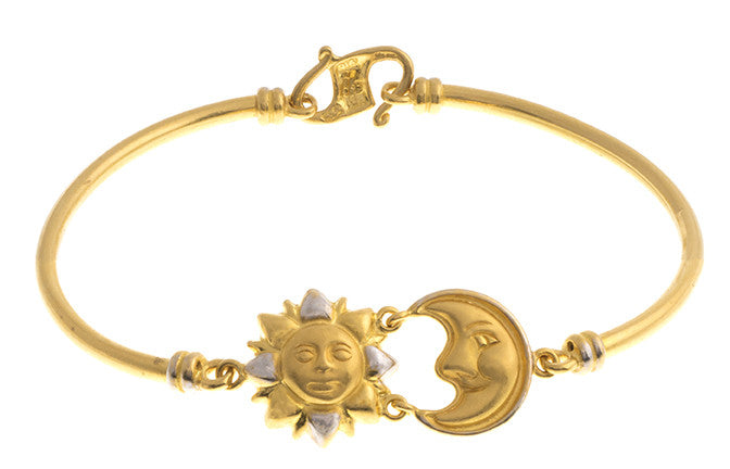Hand Finished 22ct Yellow Gold Sun & Moon Children's Bracelet, Minar Jewellers - 1