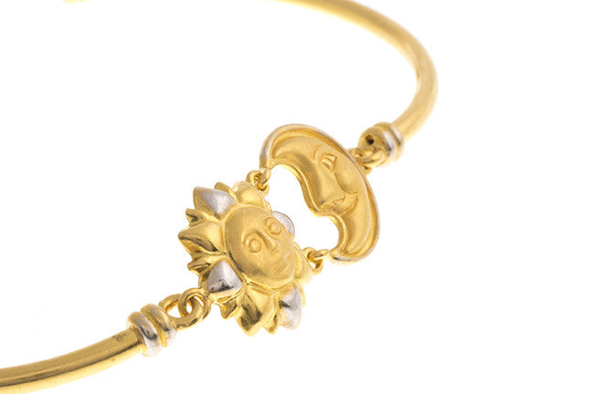 Hand Finished 22ct Yellow Gold Sun & Moon Children's Bracelet, Minar Jewellers - 3
