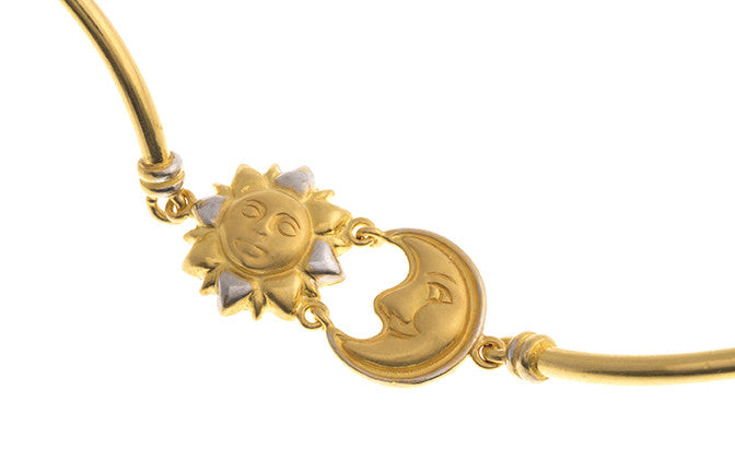 Hand Finished 22ct Yellow Gold Sun & Moon Children's Bracelet, Minar Jewellers - 4