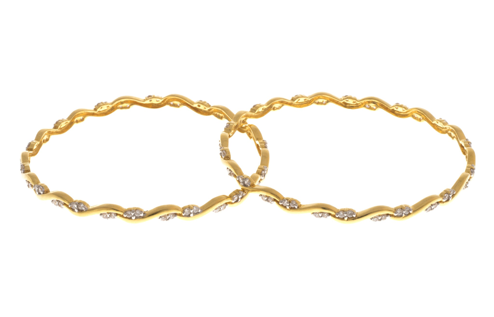 Two Stone Set 22ct Yellow Gold Bangles, Minar Jewellers - 1