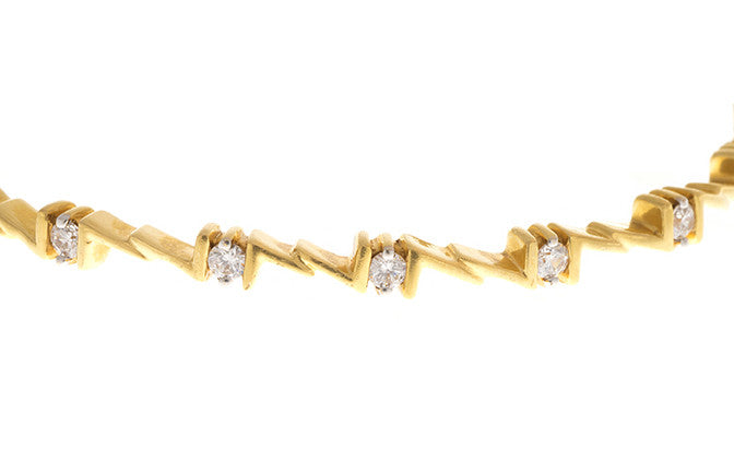 Stone Set 22ct Yellow Gold Cubic Zirconia Bangle (G1979), Minar Jewellers - 3