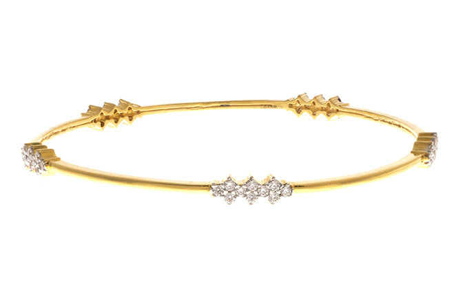Stone Set 22ct Yellow Gold & Cubic Zirconia Bangle, Minar Jewellers - 1