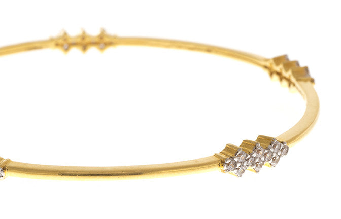 Stone Set 22ct Yellow Gold & Cubic Zirconia Bangle, Minar Jewellers - 4