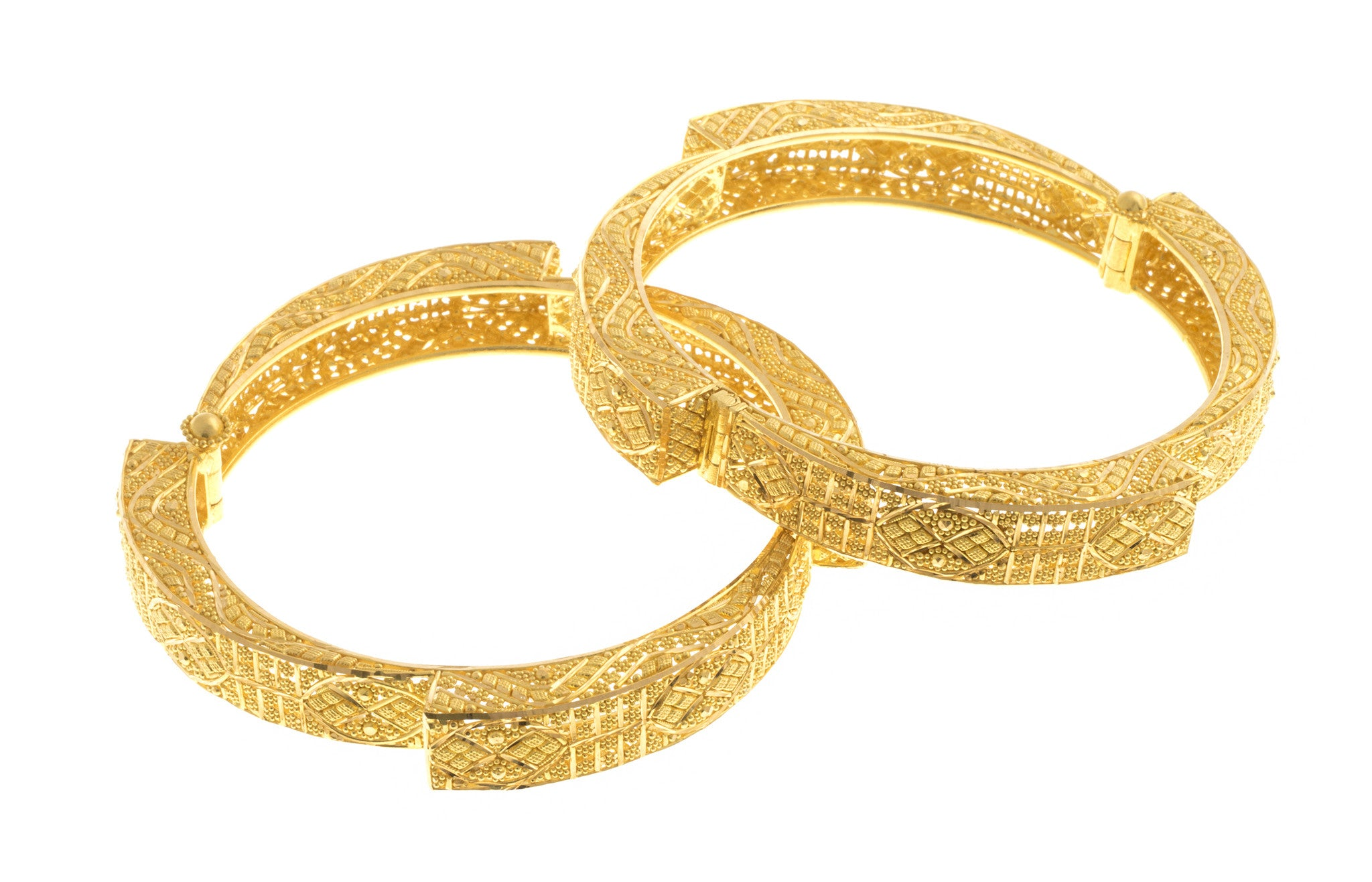 Filigree 22ct Yellow Gold Bangle, Minar Jewellers - 3