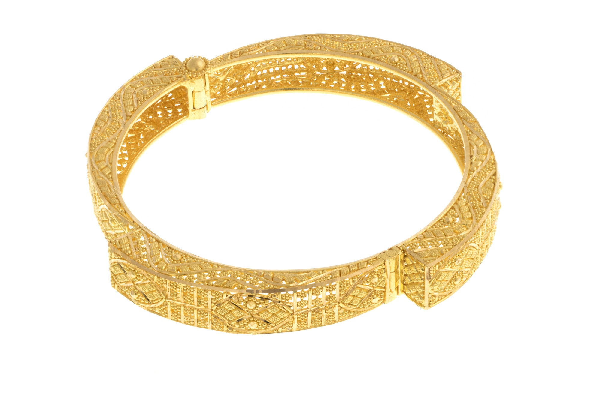 Filigree 22ct Yellow Gold Bangle, Minar Jewellers - 1