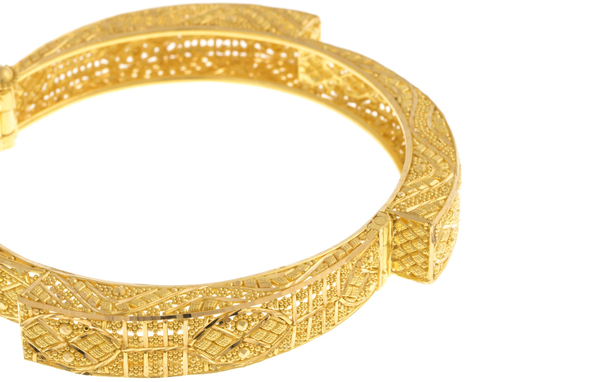 Filigree 22ct Yellow Gold Bangle, Minar Jewellers - 7
