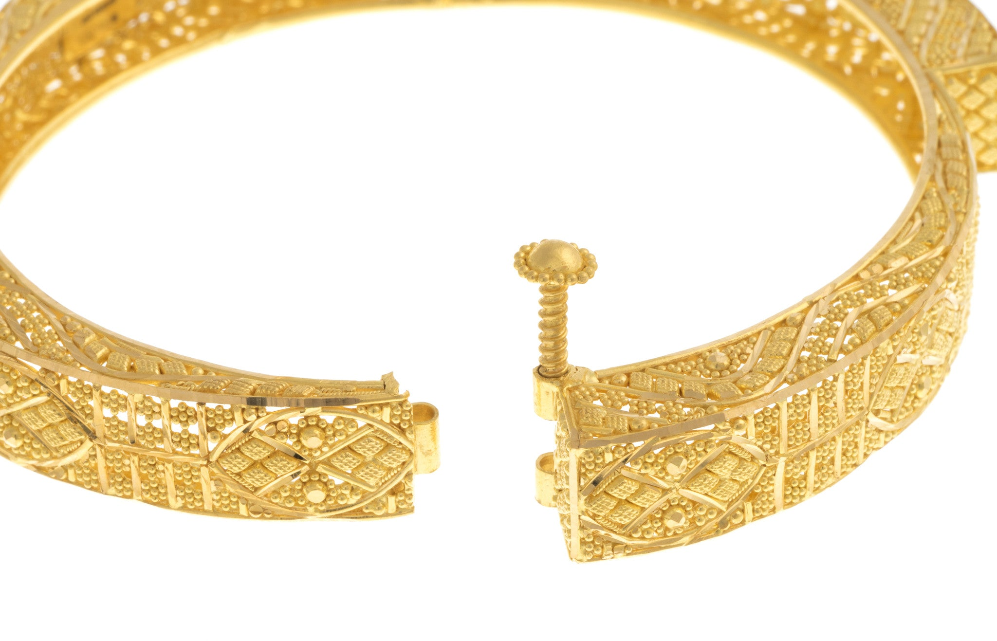 Filigree 22ct Yellow Gold Bangle, Minar Jewellers - 8
