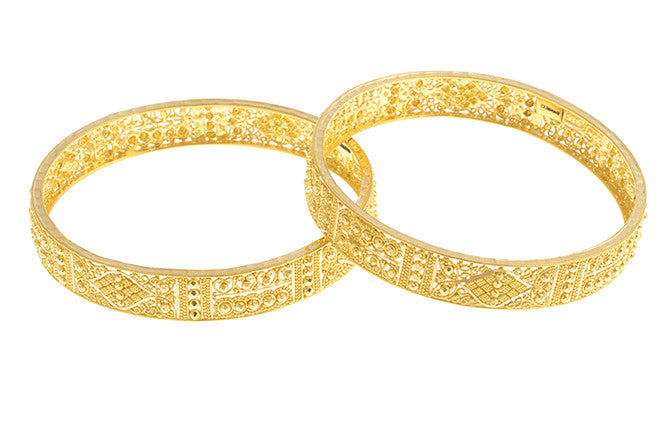 22ct Gold Bangles with intricate diamond cut filigree design (B-1499) - Single