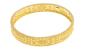 22ct Gold Bangles with intricate diamond cut filigree design (B-1499) - From Above