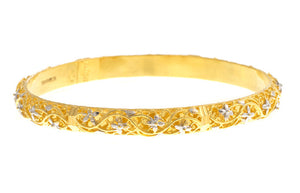 Two Hand Finished 22ct Yellow Gold Bangles with White Rhodium Plating (G1787), Minar Jewellers - 4