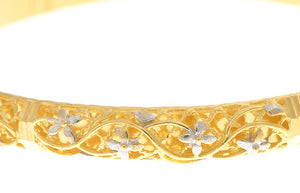 Two Hand Finished 22ct Yellow Gold Bangles with White Rhodium Plating (G1787), Minar Jewellers - 6