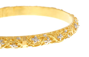 Two Hand Finished 22ct Yellow Gold Bangles with White Rhodium Plating (G1787), Minar Jewellers - 7