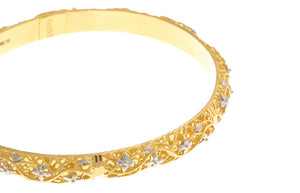 Two Hand Finished 22ct Yellow Gold Bangles with White Rhodium Plating (G1787), Minar Jewellers - 8