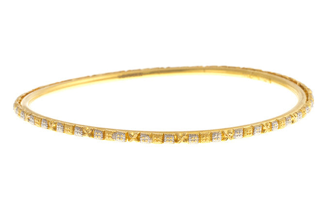 Four Hand Finished 22ct Yellow Gold Bangles with White Rhodium Plating (G1945), Minar Jewellers - 4