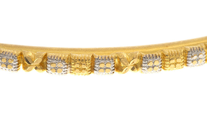 Four Hand Finished 22ct Yellow Gold Bangles with White Rhodium Plating (G1945), Minar Jewellers - 6