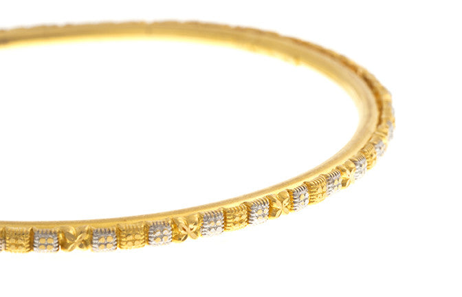 Four Hand Finished 22ct Yellow Gold Bangles with White Rhodium Plating (G1945), Minar Jewellers - 7