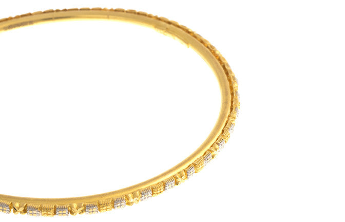 Four Hand Finished 22ct Yellow Gold Bangles with White Rhodium Plating (G1945), Minar Jewellers - 8