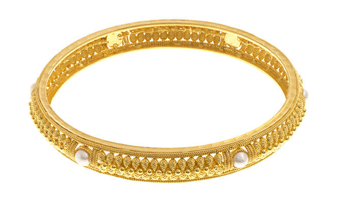 Filigree 22ct Yellow Gold Bangle with Cultured Pearls (G1837), Minar Jewellers - 2