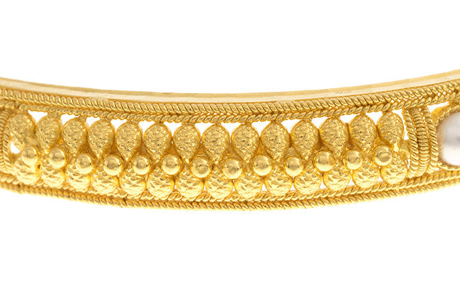 Filigree 22ct Yellow Gold Bangle with Cultured Pearls (G1837), Minar Jewellers - 3