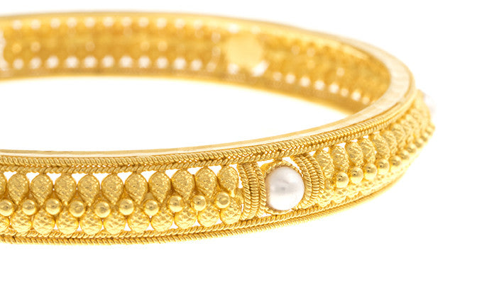 Filigree 22ct Yellow Gold Bangle with Cultured Pearls (G1837), Minar Jewellers - 1