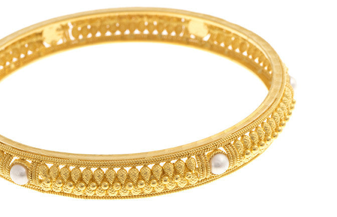 Filigree 22ct Yellow Gold Bangle with Cultured Pearls (G1837), Minar Jewellers - 5