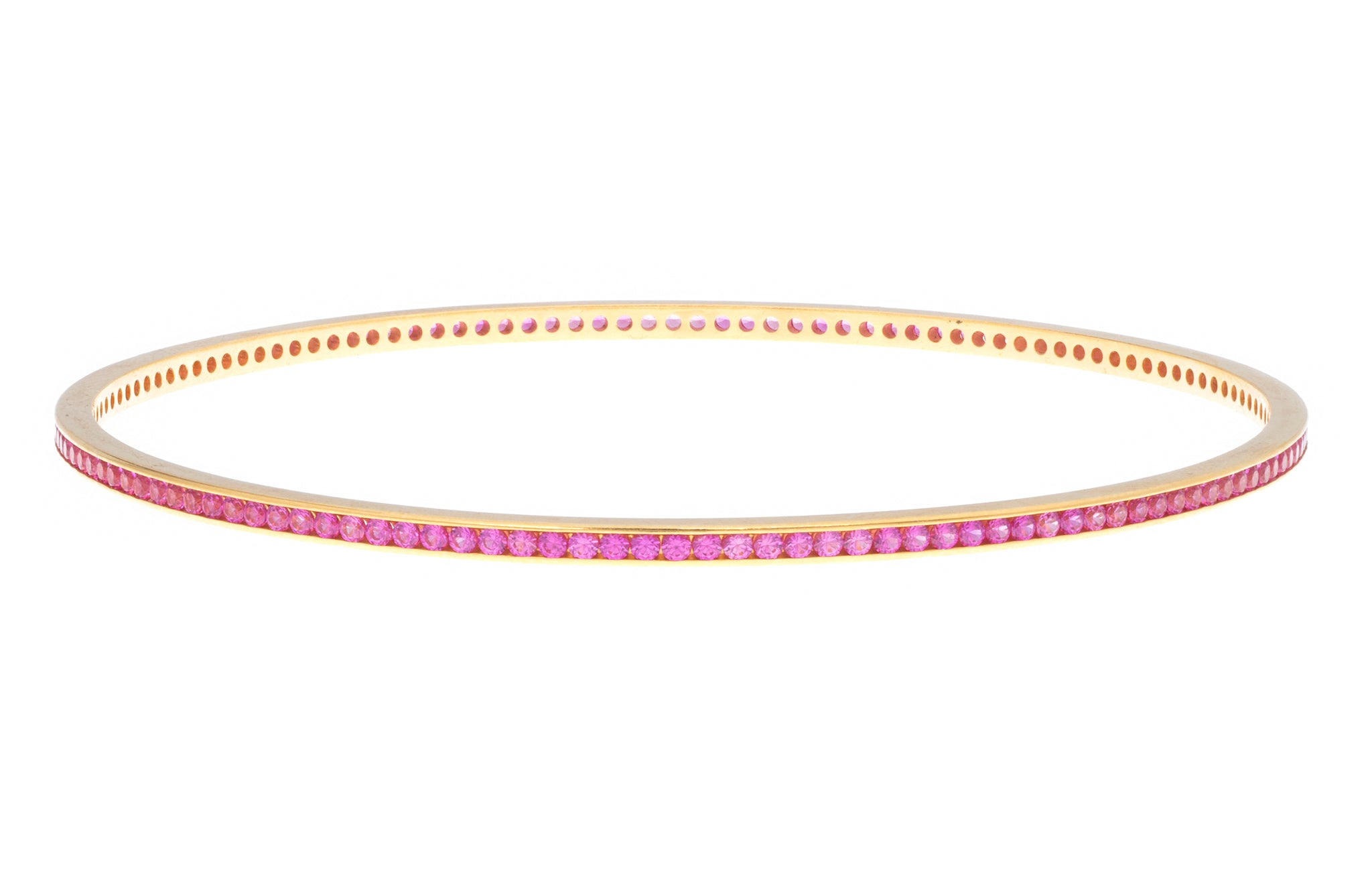 22ct Yellow Gold Bangles set with Pink Stones (B-1526)
