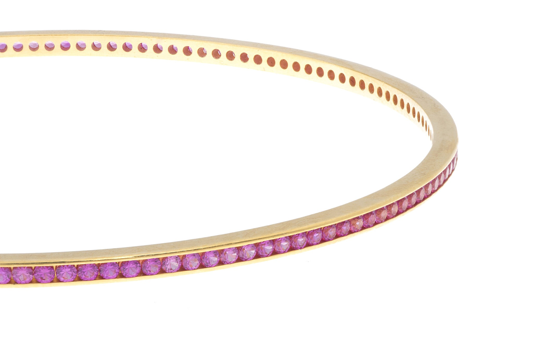 22ct Yellow Gold Bangle set with Pink Stones (G1783), Minar Jewellers - 2