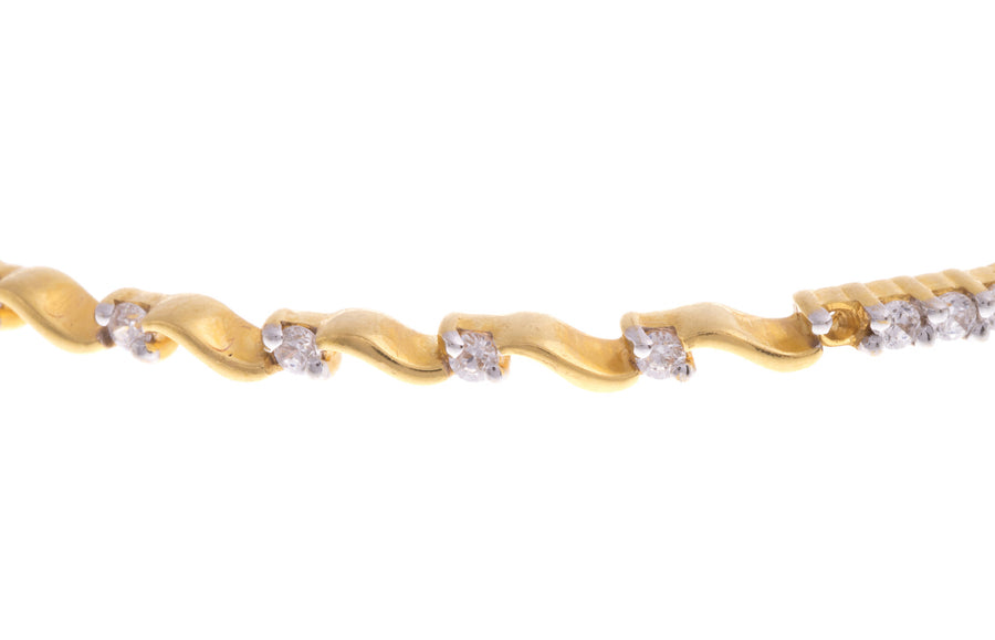 22ct Yellow Gold Bangle set with Cubic Zirconias (G1917), Minar Jewellers - 1