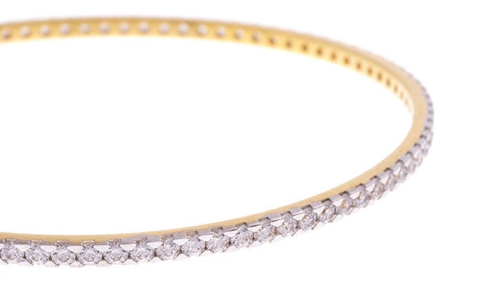 Stone Set 22ct Yellow Gold & Cubic Zirconia Bangle with White Rhodium Plating (G1779), Minar Jewellers - 5