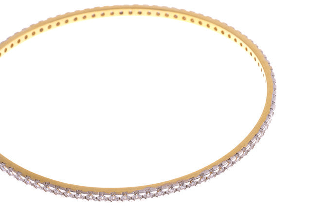 Stone Set 22ct Yellow Gold & Cubic Zirconia Bangle with White Rhodium Plating (G1779), Minar Jewellers - 6