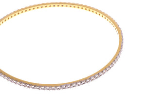 Stone Set 22ct Yellow Gold & Cubic Zirconia Bangle with White Rhodium Plating (G1779), Minar Jewellers - 2