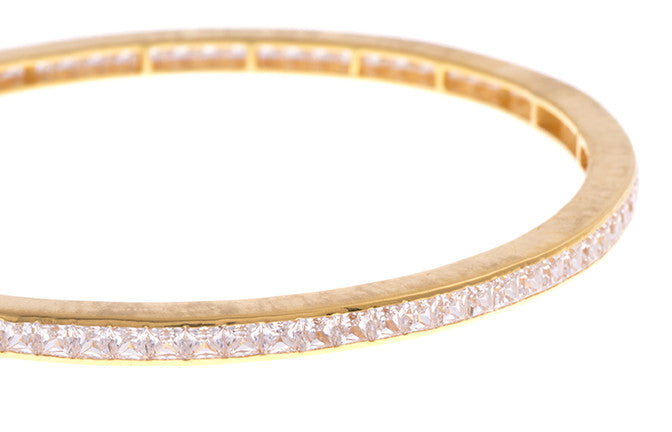 Stone Set 22ct Gold and Cubic Zirconia Bangles (B-1555) - Close Up_1